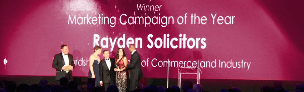Rayden Solicitors Marketing Campaign of the Year Winner